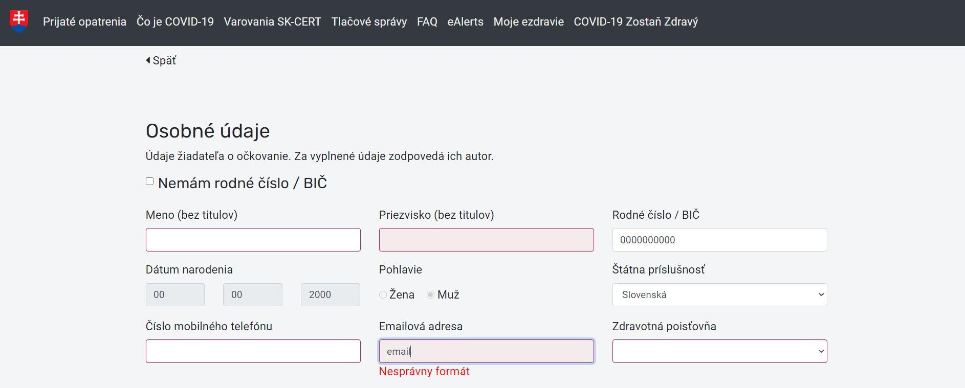 ux audit_registracny_formular_chybova_hlaska_email_screen